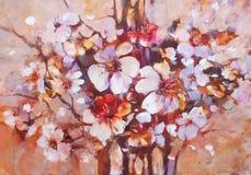 Almonds blossom handmade painting. Almonds blossom handmade oil painting on canvas Stock Photo