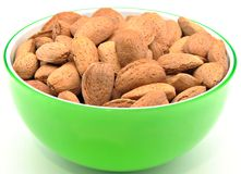 Almonds in a bowl Stock Images