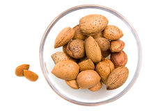 Almonds on bowl from above Royalty Free Stock Photos