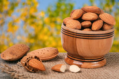 Almonds in a bowl on the old wooden board with sackcloth and blurred garden background Stock Photos