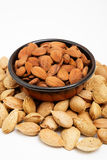 Almonds in a bowl, snacks of nuts Royalty Free Stock Photo