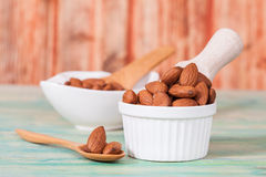 Almonds in bowl Royalty Free Stock Photo