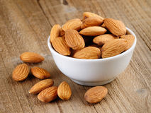 Almonds in bowl Royalty Free Stock Photography