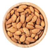 Almonds in a brown wooden bowl Stock Photos