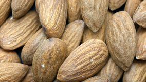 Almonds bunch closeup top view rack focus stock video