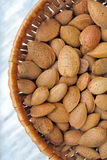 Almonds. On carrara marble top Royalty Free Stock Image
