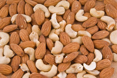 Almonds and cashew Royalty Free Stock Photos