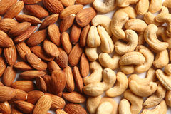 Almonds and cashew Nuts. Mixture of almonds and cashew nuts royalty free stock image