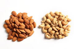 Almonds and cashew Nuts. Mixture of almonds and cashew nuts stock photos
