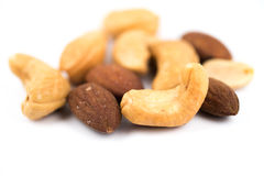 Almonds and cashew nuts Stock Images