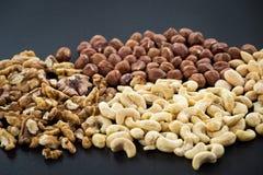 Almonds, cashew, walnuts and hazelnuts Royalty Free Stock Photos