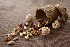Almonds, cashew, walnuts and hazelnuts Stock Photos