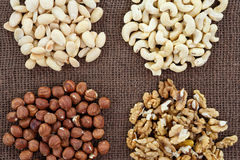 Almonds, cashew, walnuts and hazelnuts Stock Photo
