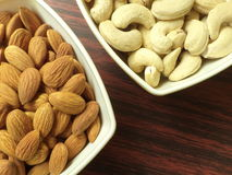 Almonds and cashews. Close up of Almonds and cashews Stock Image