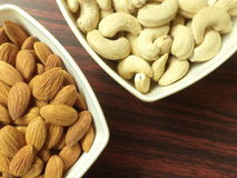 Almonds and cashews. Close up of Almonds and cashews Royalty Free Stock Images