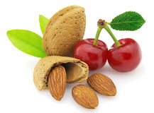 Almonds with cherry royalty free stock photo