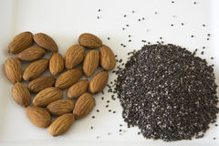 Almonds and Chia Seeds Royalty Free Stock Photo