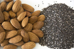 Almonds and Chia Seeds Royalty Free Stock Photos