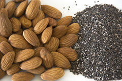 Almonds and Chia Seeds Royalty Free Stock Image