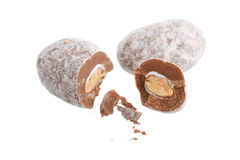 Almonds in the chocolate Royalty Free Stock Photos
