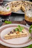 Almonds chocolate cake stock photo