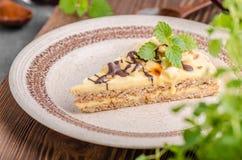 Almonds chocolate cake stock photos