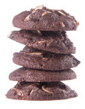 Almonds chocolate chips cookies on background Stock Photography