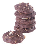 Almonds chocolate chips cookies on background Stock Photo