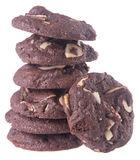 Almonds chocolate chips cookies on background Royalty Free Stock Photos