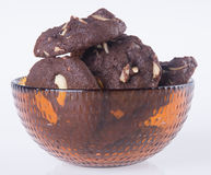 Almonds chocolate chips cookies on background Royalty Free Stock Photography