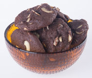 Almonds chocolate chips cookies on background Stock Image