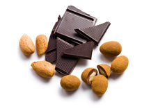 Almonds in chocolate with cinnamon Royalty Free Stock Photos