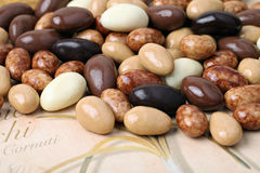 Almonds with chocolate. Royalty Free Stock Photography