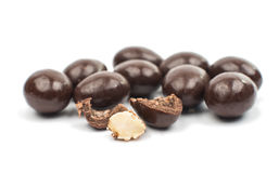 Almonds in chocolate Stock Images