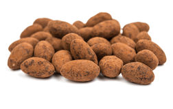 Almonds in chocolate Stock Image