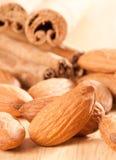 Almonds & Cinnamon Stock Photo