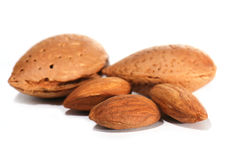Almonds in closeup Stock Photos