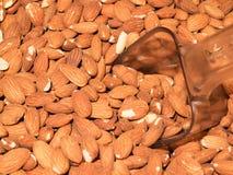 Almonds closeup background. Peeled almonds background. Closeup nut background stock photo
