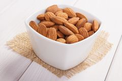 Heap of almonds containing zinc and dietary fiber, healthy nutrition Royalty Free Stock Image