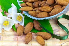 Almonds in crystal bowl Stock Photo