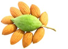 Almonds delight green raw and dry Royalty Free Stock Photos