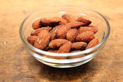 Almonds in dish Royalty Free Stock Photography