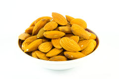 Almonds on dish Stock Image