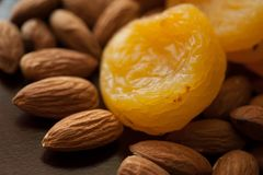 Almonds and dried apricots Stock Photo