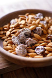 Almonds and dried figs Stock Photo