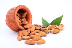 Almonds in a earthen pot Royalty Free Stock Image