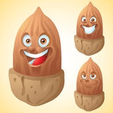 Almonds face expression cartoon character set Royalty Free Stock Photo