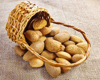 Almonds falling from basket Stock Photo
