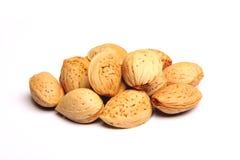 Almonds. Few almonds on white background royalty free stock image