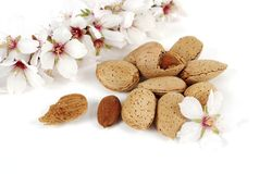 Almonds and flowers Royalty Free Stock Photo